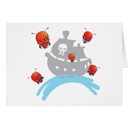 Tarjeta de nota de las mariquitas del pirata