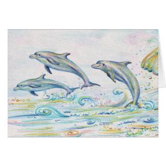 Tarjeta de nota de los delfínes del