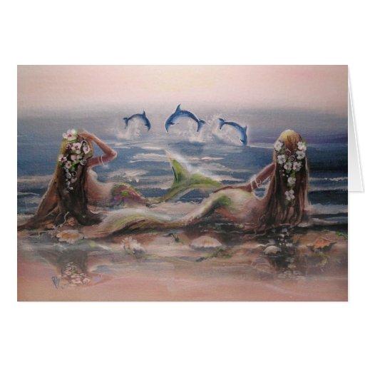Tarjeta de nota de los delfínes y de las sirenas