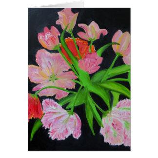 Tarjeta de nota de los tulipanes del loro