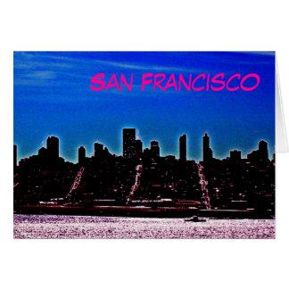 Tarjeta de nota de San Francisco - magenta y azul