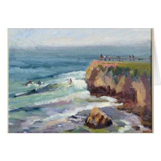 Tarjeta de nota de Santa Cruz que practica surf