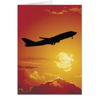 Tarjeta de nota del aeroplano en vuelo