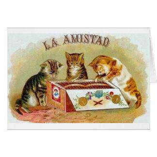 Tarjeta de nota del anuncio del cigarro del gatito