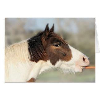 Tarjeta de nota del caballo y de la zanahoria