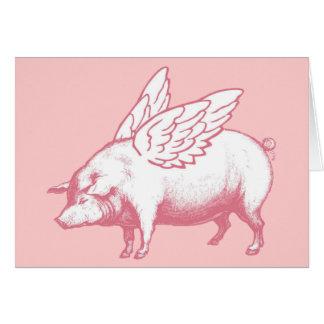 Tarjeta de nota del cerdo del vuelo - espacio en
