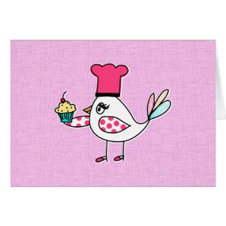 Tarjeta de nota del chef de repostería del pájaro