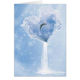Tarjeta de nota del corazón del agua del delfín