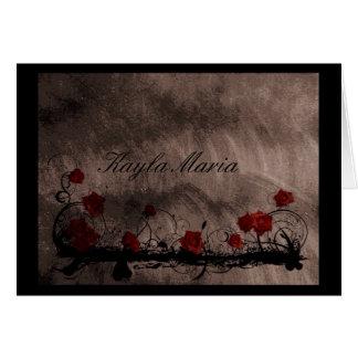 Tarjeta de nota del monograma de los rosas del