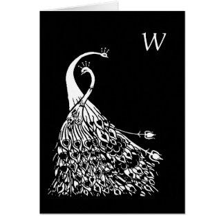 Tarjeta de nota del monograma de Nouveau del arte
