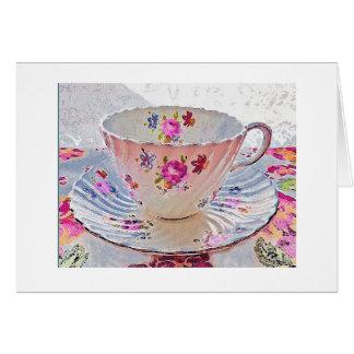 Tarjeta de nota del negro de la taza de té