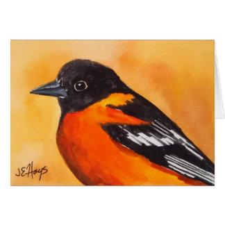 Tarjeta de nota del pájaro de Baltimore Oriole