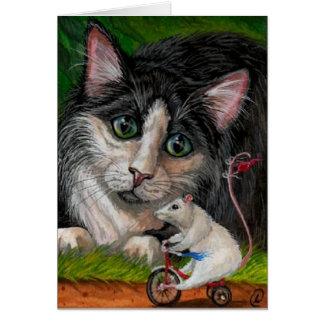 Tarjeta de nota del ratón del triciclo del CAT del