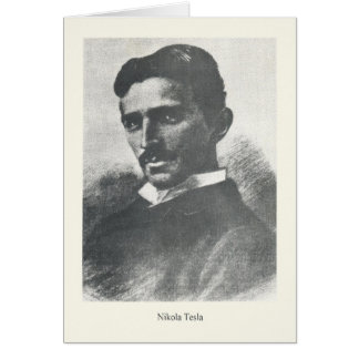 Tarjeta de nota del retrato de Nikola Tesla del