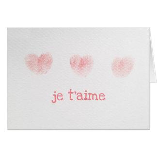 Tarjeta de nota del t'aime de Je, francés te amo