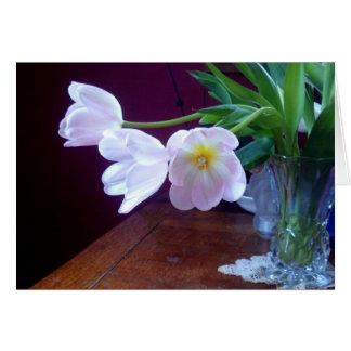 Tarjeta de nota del tulipán de la lavanda
