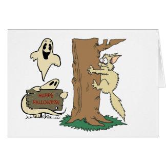 Tarjeta de nota divertida del gato y del fantasma