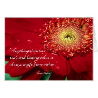 Tarjeta de nota en blanco de la flor con la cita