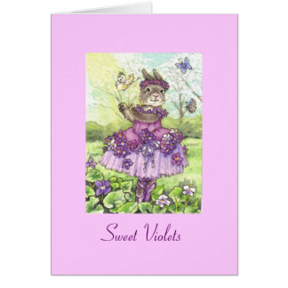 Tarjeta de nota en blanco de las violetas dulces