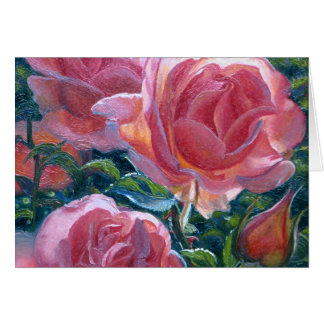 """Tarjeta de nota en blanco de los """"rosas coralinos"""""""