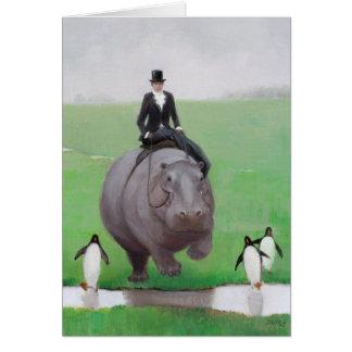 Tarjeta de nota en blanco del hipopótamo y de los