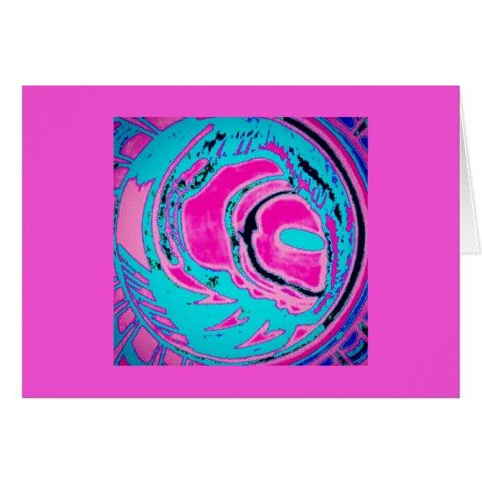 Tarjeta de nota en blanco (planeta - rosa)