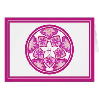 Tarjeta de nota floral decorativa de las tejas del