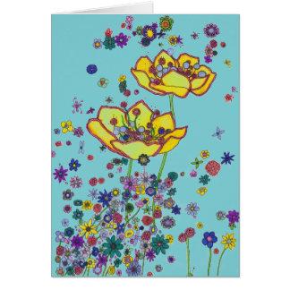 Tarjeta de nota - flores dispersadas