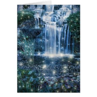 Tarjeta de nota mágica de la cascada