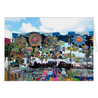 Tarjeta de nota mexicana colorida del quiosco