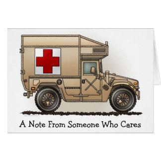 Tarjeta de nota militar de la ambulancia de Hummer