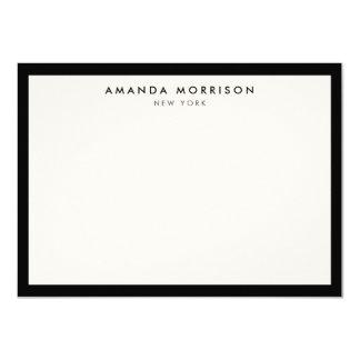 Tarjeta de nota negra/de marfil de lujo elegante y invitación 11,4 x 15,8 cm