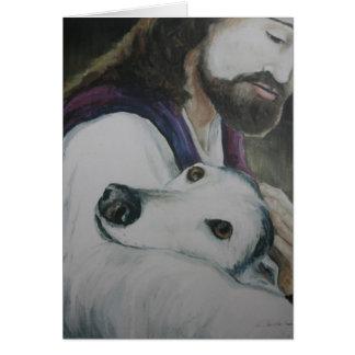 Tarjeta de nota original del arte del perro del