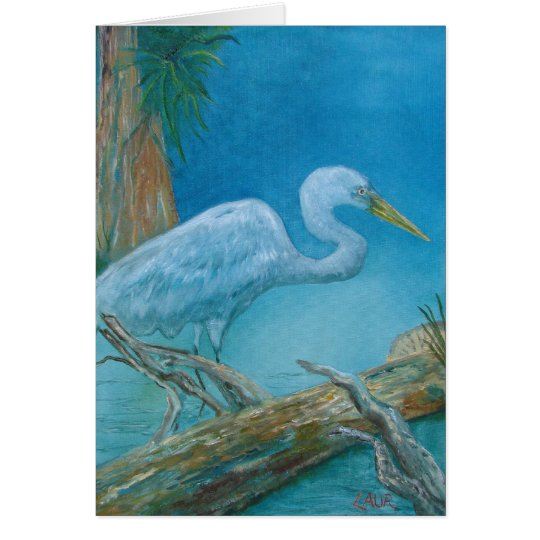Tarjeta de nota - pájaro tropical blanco en los