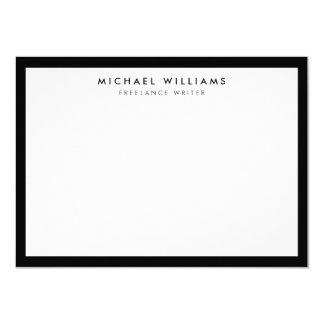Tarjeta de nota plana blanco y negro profesional invitación 11,4 x 15,8 cm