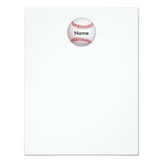 Tarjeta de nota plana personalizada del béisbol invitación 10,8 x 13,9 cm