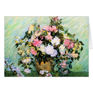 Tarjeta de nota rosada de los rosas de Van Gogh
