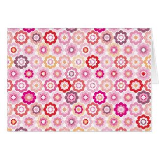 Tarjeta de nota rosada linda de la flor