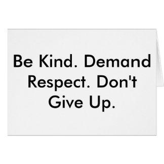 Tarjeta de nota sobre amabilidad, respecto y el