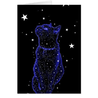 Tarjeta de nota Stargazing del gato