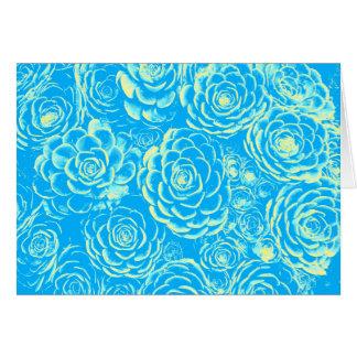 Tarjeta de nota suculenta azul y amarilla
