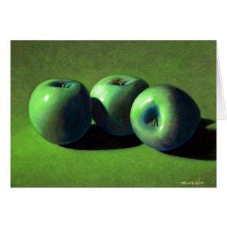 Tarjeta de nota verde de las manzanas