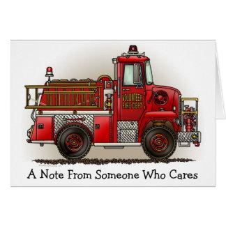 Tarjeta de nota voluntaria del coche de bomberos