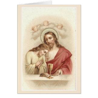 Tarjeta de ofrecimiento total católica de Jesús