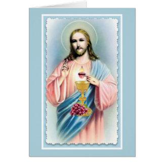 Tarjeta de ofrecimiento total católica del corazón