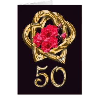 Tarjeta de oro de la enhorabuena del aniversario