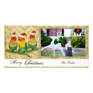 Tarjeta de oro de la foto de tres navidad de los p tarjetas personales
