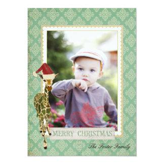 Tarjeta de oro de la foto del navidad de la jirafa invitaciones personalizada