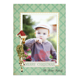Tarjeta de oro de la foto del navidad de la jirafa invitación 13,9 x 19,0 cm