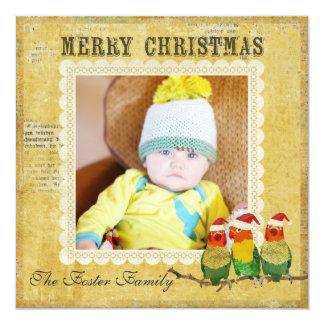 Tarjeta de oro de la foto del navidad de las invitación 13,3 cm x 13,3cm